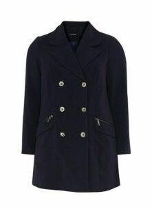 Navy Blue Double Breasted Coat, Navy