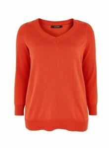 Orange V-Neck Jumper, Orange