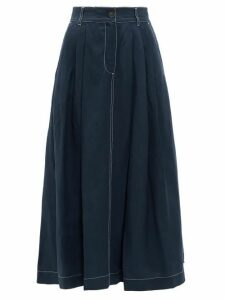 Mara Hoffman - Tulay Pleated Midi Skirt - Womens - Navy