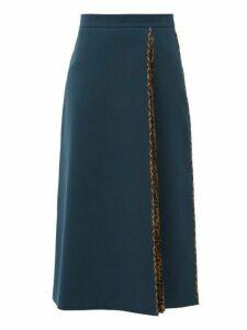 Fendi - Pleated Logo-print Wool-crepe Midi Skirt - Womens - Navy Multi