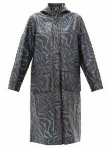 Ganni - Tiger-print Bio-plastic Rain Coat - Womens - Navy