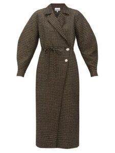 Ganni - Crystal-embellished Tweed Coat - Womens - Black