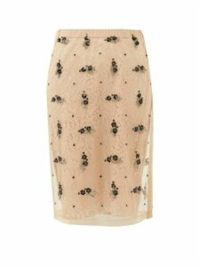 No. 21 - Embellished Tulle And Lace Pencil Skirt - Womens - Beige