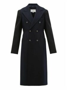 Maison Margiela - Double-breasted Wool Overcoat - Womens - Blue Multi