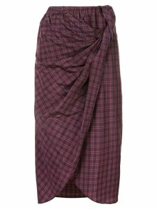 Muller Of Yoshiokubo check midi skirt - PURPLE
