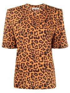 Attico structured leopard print T-shirt - Brown