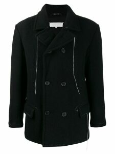 Maison Margiela hanging threads double breasted coat - Black