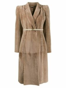 Fendi single-breasted belted coat - NEUTRALS