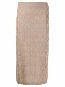 Fendi FF pattern pencil skirt - NEUTRALS