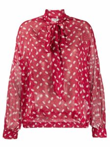 LIU JO lips print pussybow blouse - Red