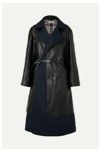 Balenciaga - Paneled Leather And Cotton-blend Gabardine Coat - Black
