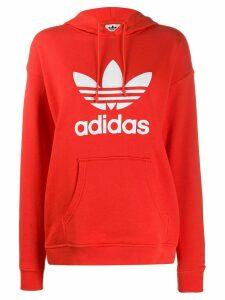 adidas Adicolor logo-print cotton hoodie - Red