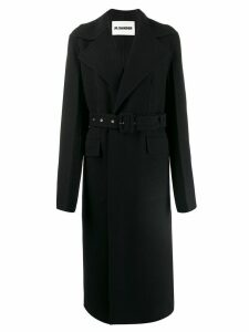 Jil Sander belted double breasted coat - Blue