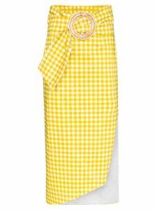 Silvia Tcherassi Fadua gingham belted midi skirt - Yellow