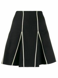 Red Valentino contrasting trim pleated skirt - Black