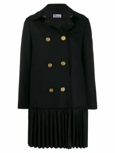 Red Valentino pleated detailed midi coat - Black
