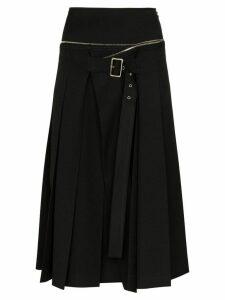 We11done unbalanced box pleat wool skirt - Black