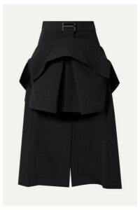 Dion Lee - Asymmetric Layered Crepe Midi Skirt - Black