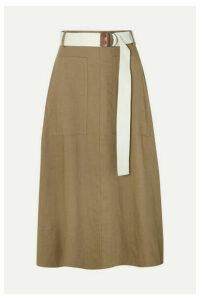Tibi - Linen-blend Twill Wrap Midi Skirt - Army green