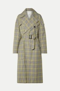 Tibi - Belted Checked Woven Trench Coat - Green