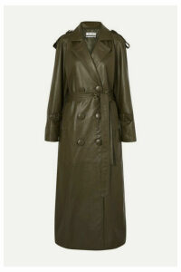 The Attico - Belted Leather Trench Coat - Army green