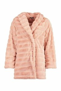 Womens Panelled Faux Fur Coat - pink - 14, Pink