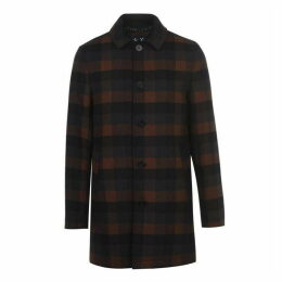 Jack Wills Whitburn Wool Check Mac - Brown