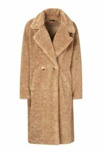Womens Oversized Textured Faux Fur Coat - beige - 12, Beige