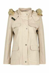 Womens Faux Fur Trim Hooded Pocket Detail Parka - beige - 14, Beige