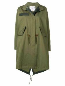 Sacai drawstring hem coat - Green