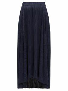 Pleats Please Issey Miyake - High-rise Pleated Midi Skirt - Womens - Navy