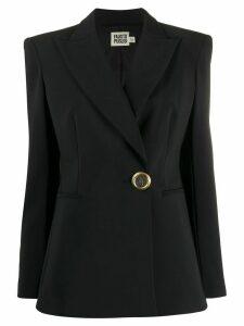 Fausto Puglisi fitted logo-button blazer - Black