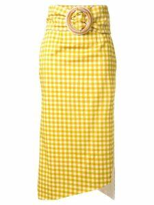 Silvia Tcherassi Fadua checked midi skirt - Yellow