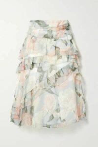 Jason Wu Collection - Ruffled Floral-print Silk-crepon Skirt - Light gray