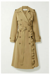 Michael Kors Collection - Belted Ruffled Wool-gabardine Trench Coat - Sand