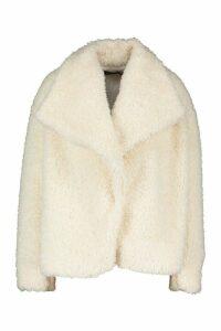 Womens Waterfall Collar Teddy Coat - white - 16, White