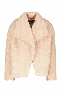 Womens Waterfall Collar Teddy Coat - pink - 16, Pink
