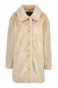 Womens Oversized Collared Faux Fur Coat - beige - 16, Beige