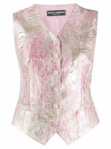 Dolce & Gabbana lame jacquard waistcoat - PINK