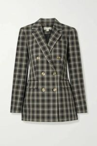 MICHAEL Michael Kors - Double-breasted Checked Cotton-blend Blazer - Army green