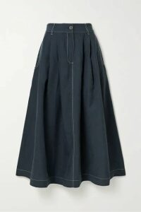 Mara Hoffman - Tulay Pleated Tencel Lyocell And Linen-blend Midi Skirt - Storm blue