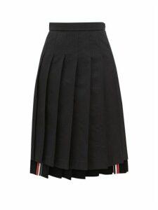 Thom Browne - Tonal-striped Pleated Midi Skirt - Womens - Black