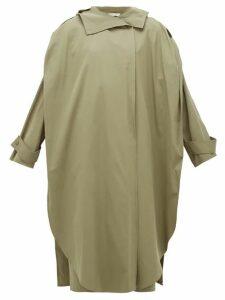 Bottega Veneta - Oversized Wrap Cotton-blend Trench Coat - Womens - Khaki