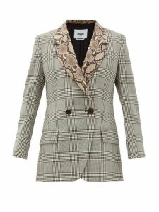 Msgm - Double-breasted Snake-collar Wool Blazer - Womens - Black White