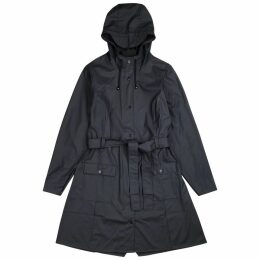 Rains Curve Navy Rubberised Raincoat