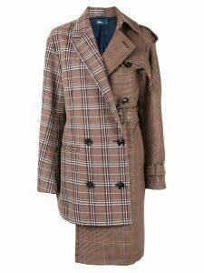 Kolor asymmetric houndstooth coat - Brown