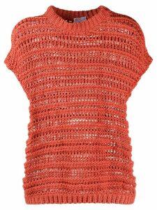 Brunello Cucinelli open-knit cotton top - ORANGE