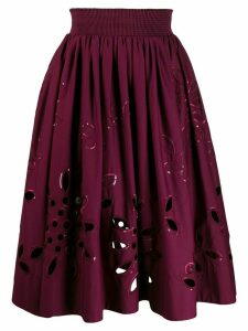 Emilio Pucci broderie anglaise high-waisted skirt - PURPLE