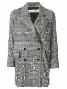 Tu es mon TRÉSOR check double-breasted blazer - Grey