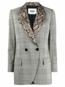MSGM check print contrasting collar blazer - Black